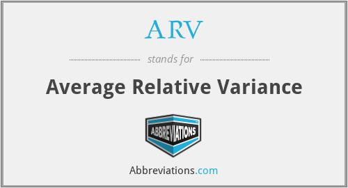 ARV - Average Relative Variance